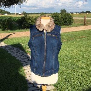 Denim Vest w/ Removable Fur Collar